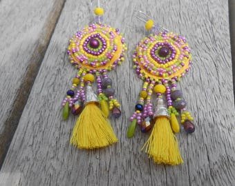 """Embroidered """"yellow tassels"""" beaded earrings"""