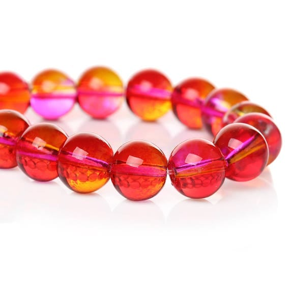 Set of 5 glass beads - pink and orange transparent - 10 mm