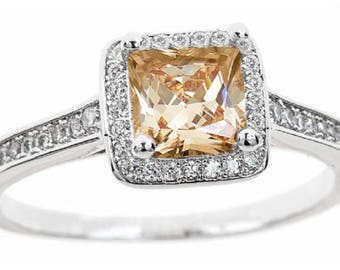 18kt white gold plated champagne colored princess ring