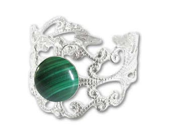 Ring silver plated - malachite (adjustable size) print