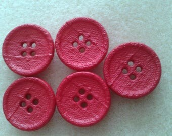 5 buttons red 22 mm to embellish your clothes