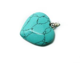 semi precious gemstone, turquoise stone heart pendant