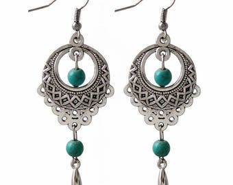 925 Silver and turquoise hook earrings