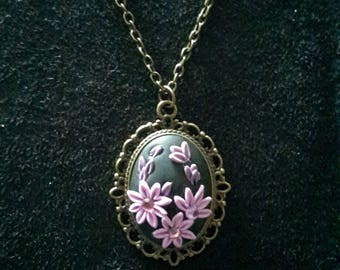 Unique necklace, Handmade necklace, Polymer Clay necklace, Antique bronze necklace