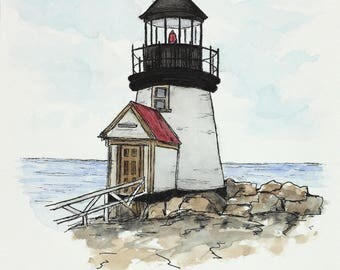 Original watercolor sketch. Lighthouse