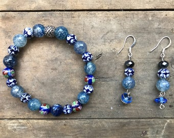 Sodalite and Orient glass bead set