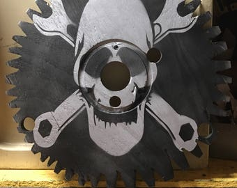 Small Wood Wire Spool Made Into Sawblade and Skull With Wrench Gear Head