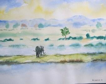 Aquarelle éléphant dans paysage humide