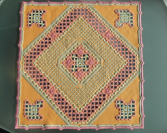 Saffron yellow, pink and green Hardanger embroidered doily