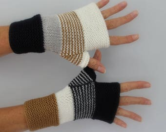 Navy blue hand knitted mittens, white, ivory, grey and camel