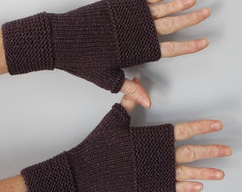 knit fingerless mittens knitted handmade Eggplant with silver glitter
