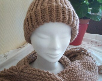 light brown scarf and hat set