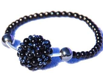 Glamorous Black Cluster Ball Bracelet