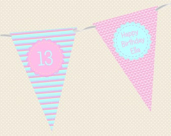 Personalised Birthday Bunting - Pretty Stripe - Made in UK