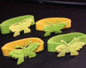 set of 4 napkin rings yellow green felt Butterfly