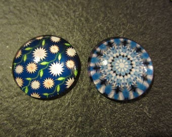 set two cabochons Blue theme various 2.4 cm