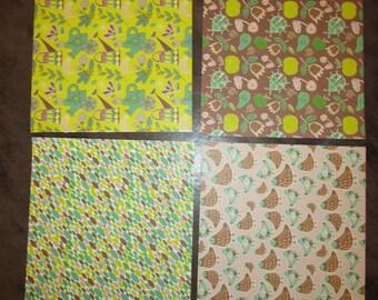 set of 4 sheets 10.5 x 15 cm Green Garden themed nature