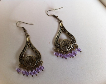 Earrings lilac, and bronze oriental style