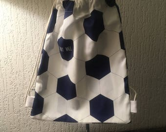 Blue and white football backpack