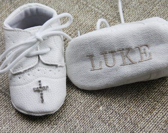 Boys Christening shoes Baptism shoes for boys Personalized shoes Baby boy shoes White baby shoes white shoes  Newborn baby shoes Cute shoes