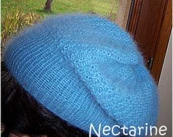 "Ice blue Angora wool hat ""slouch"""