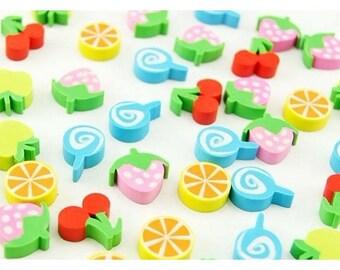 50 adorable little kawaii fruit erasers