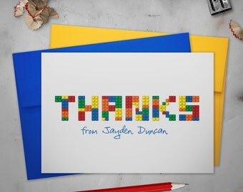 Personalized Folded Stationery Thank You Cards Set with Envelopes | Lego