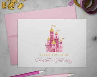 Personalized Stationery Note Cards Set with Envelopes | Royal Glitter Princess Castle