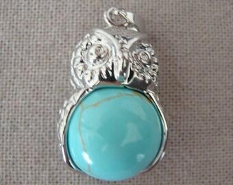 Turquoise OWL bead pendant