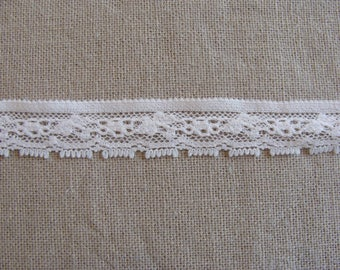 1 meter of lace pink pale Cotton/poly width 13 mm flower garland