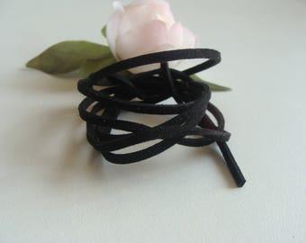 the meter 2 * 2 mm Black Suede cord