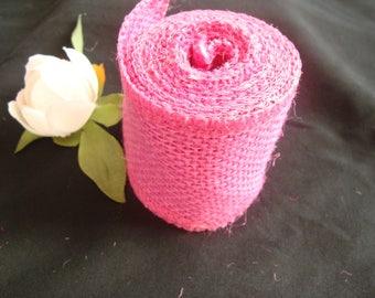 Ribbon 6 centimeters wide pink hemp cord