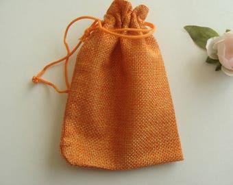 Gift Jewelry pouch small burlap bag orange 13 * 9.5 cm
