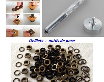Bronze eyelet + setting tools with washers diameter 11.5 mm for DIY curtain hip bag