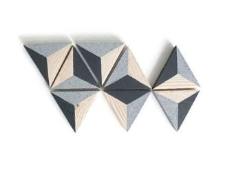Decorative wall set of 8 triangles trompe l'oeil - Scandinavian inspiration