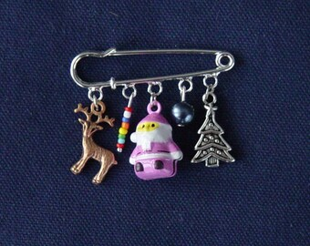 Brooch pink Santa with Bell