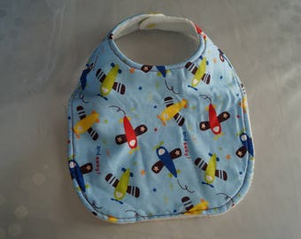 Blue airplane bib for baby