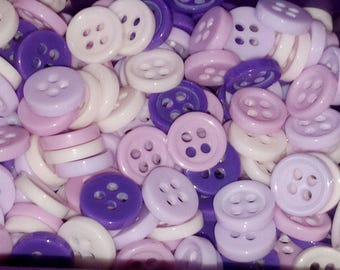 shades of Purple 9 mm scrapbooking set of 10 round 4 hole buttons
