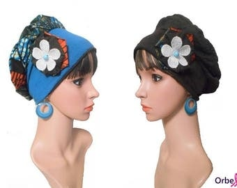 """REVERSIBLE """"Elodie"""" beret & its removable fabric flower"""