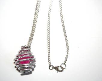 Handmade necklace - aluminium and bead - lucky cage