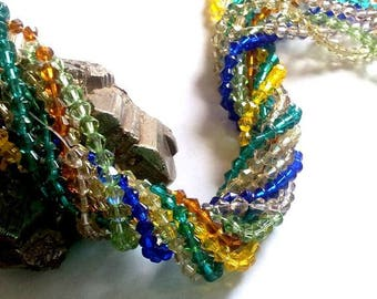 Wholesale lot of 400 glass beads, bicone beads 4 / 5mm approx - 80 x 5 colors