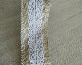 Rustic burlap and lace Ribbon