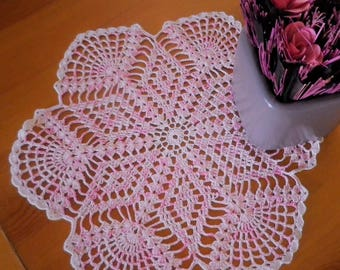 Pink ombre crocheted doily