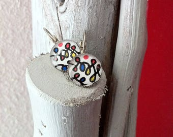 Earrings sleepers-inspired glass cabochon Alexander Calder
