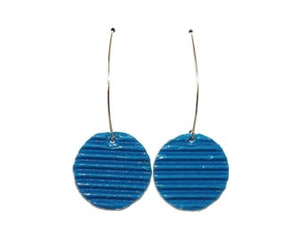 "Earrings made of recycled corrugated cardboard ""blue"""