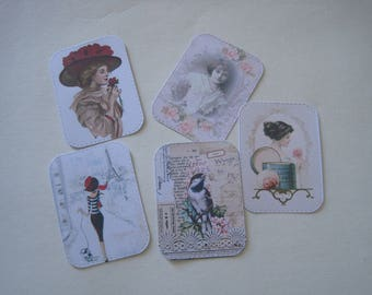 Set of 5 images, embellishments, cuts, dies, vintage, retro, woman, girl, bird