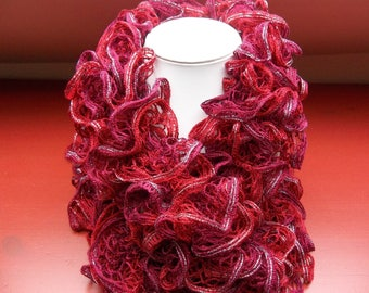 Fancy Red/Burgundy silver acrylic scarf