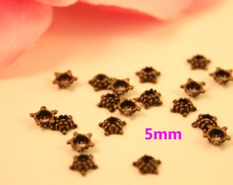 Lot 100 cups flowers 5mm bronze beads