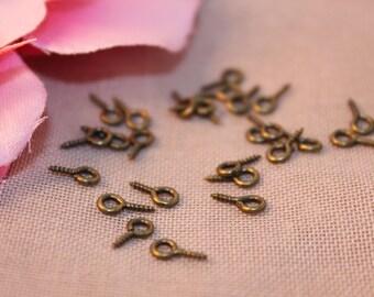 Set of 200 screw bronze 8x4mm Fimo jewelry