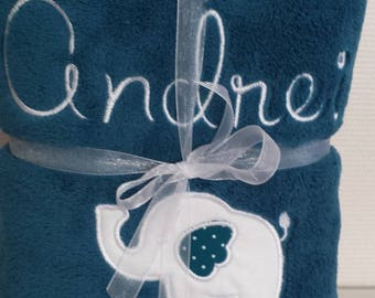 embroidered name and elephant teal baby blanket blanket